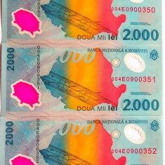 Lot/Set 3 bancnote consecutive ROMANIA, 2000 Lei 1999 ECLIPSA-UNC! cod 357 - Bancnota romaneasca
