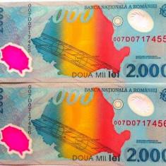Lot/Set 2 bancnote consecutive ROMANIA, 2000 Lei 1999 ECLIPSA-UNC! cod 362 - Bancnota romaneasca