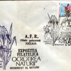 Romania - Plic oc.1989 - Ocrotirea Naturii Suceava - Iris, brandusa de munte