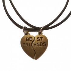 Pandantiv Colier Lantisor Medalion - BFF BEST Friend FRIENDS Inima (SET 2 BUC)