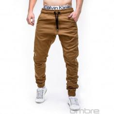 Pantaloni barbati P205 camel, model NOU, Marime: S, M, L, XL, XXL, Lungi, Bumbac