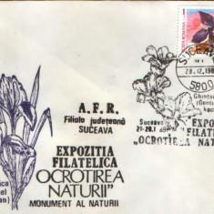 Romania - Plic oc.1989 - Ocrotirea Naturii Suceava - Gentiana, caldarusa