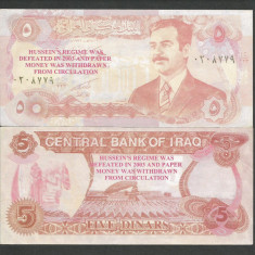 IRAK IRAQ 5 DINARS DINARI 1992 [2] a UNC - bancnota asia