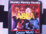 Abba money money crazy world disc vinyl single hit 1976 45 RPM muzica pop disco, VINIL