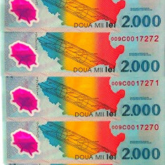 Lot/Set 5 bancnote consecutive ROMANIA, 2000 Lei 1999 ECLIPSA-UNC! cod 355 - Bancnota romaneasca