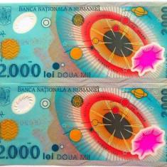 Lot/Set 2 bancnote consecutive ROMANIA, 2000 Lei 1999 ECLIPSA-UNC! cod 356 - Bancnota romaneasca