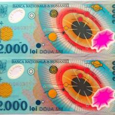 Lot/Set 2 bancnote consecutive ROMANIA, 2000 Lei 1999 ECLIPSA-UNC! cod 360 - Bancnota romaneasca