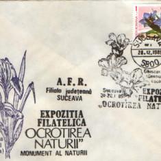 Romania - Plic oc.1989 - Ocrotirea Naturii Suceava - Ghintzura (gentziana), iris