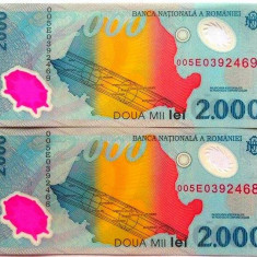 Lot/Set 2 bancnote consecutive ROMANIA, 2000 Lei 1999 ECLIPSA-UNC! cod 361 - Bancnota romaneasca