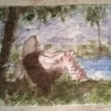 Margine de sat. Fata la umbra - Pictor roman, Peisaje, Acuarela, Impresionism
