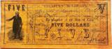 Reproducere Fidela a Bancnotei 5 Dolari - TEXAS, anul 1862 *cod 375