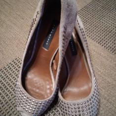 Pantofi dama Zara - Pantof dama Zara, Culoare: Gri, Marime: 38, Cu toc