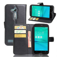 Husa Flip Cu Stand Asus Zenfone Go ZB500KL ZB500KG Lychee Series Neagra - Husa Telefon