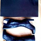 Cizme superbe din piele naturala, imblanite - Cizma dama Rieker, Culoare: Negru, Marime: 40