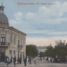 CERNAVODA STRADA REGELE CAROL I SCRISA 1919 NECIRCULATA - Carte Postala Dobrogea 1904-1918, Printata