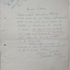 Adresa olografa a scriitorului Demostene Botez catre Fondului Literar, 1958 - Autograf