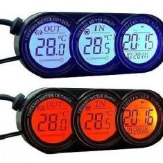 Termometru Auto - Temperatura interioara - exterioara - Ecran Colorat - rosu sau albastru - Ceas - Calendar