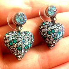 OFERTA - Cercei inima albastri-  placat cu rhodium si cristale Swarovski