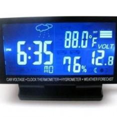 Voltmetru Auto / Ceas / Termometru Auto Interior - Exterior / Higrometru / Prognoza meteo Ecran LCD 4.5
