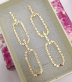 Cercei  lungi eleganti -placati cu  AUR galben 18k si cristale swarovski