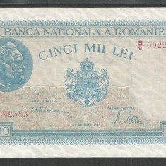ROMANIA 5000 5.000 LEI 20 Decembrie 1945 [04] a UNC, filigran vertical - Bancnota romaneasca