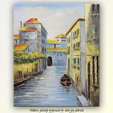Tablou 60x50cm ulei pe panza - Canal venetian (2) - Pictor roman, Peisaje, Altul