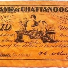 Reproducere Fidela a Bancnotei 2 Dolari - CHATTANOOGA, anul 1863 *cod 374 - bancnota america