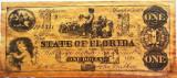 Reproducere Fidela a Bancnotei 1 Dolar - FLORIDA, anul 1863 *cod 373