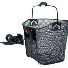 Cos fata plasa metalica Ventura 35x25x25/22cm, suport prindere ghidon, detasabil - Accesoriu Bicicleta