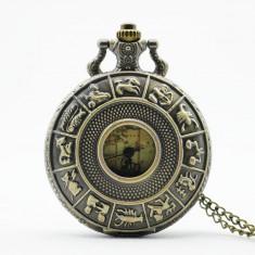 Ceas de buzunar retro Vintige Glob Pamantesc - Ceas dama Geneva, Mecanic-Manual, Analog