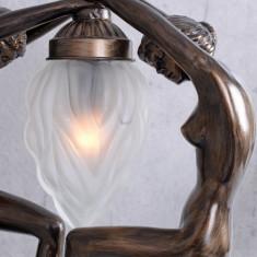 Lampa Art Deco cu doua femei cu o faclie IS097