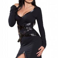 X515-1 Rochie sexy cu bretele decorative din imitatie piele si fermoar in fata - Rochie de club, Marime: M, M/L