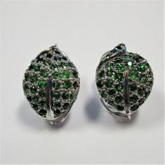 Cercei aur 18k pietre granat verzi rare - Cercei aur alb