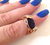Inel placat cu aur 18k si swarovski albastru- marimea 8, 18mm