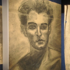 Tablou vechi Barbat la bustul gol creion hartie groasa. - Tablou autor neidentificat, Portrete, Carbune, Realism