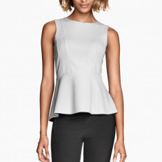 NOU Bluza alba dama top tricou peplum texturata office cu fermoar H&M marimea L - Bluza dama H&m, Marime: L, Fara maneca