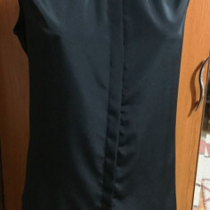NOU Camasa dama office eleganta cu decolteu pietre H&M marimea 44 L XL, Culoare: Negru, Fara maneca