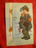Ilustrata comica - Betin asteptat la usa de nevasta - semnat ,circ. 1929 la Deva, Circulata, Printata