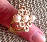 Inel-marimea 7, 17 mm-placat cu aur 18K si Swarovski si perle/55mm