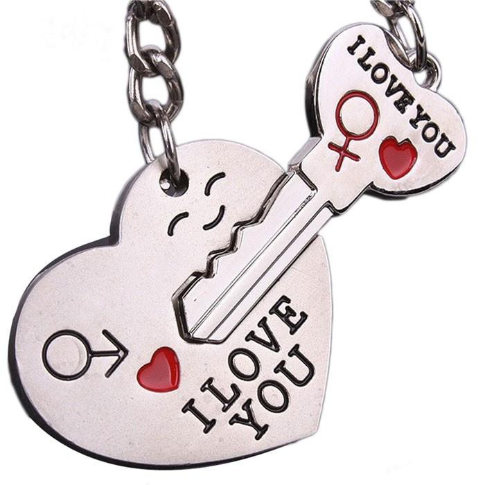 BRELOC accesorii CUPLU indragostiti  I Love You  INIMA CU CHEIE cheita LACAT BFF