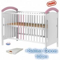 Patut din lemn Hubners Anita alb-roz + Saltea - Patut lemn pentru bebelusi