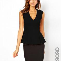 NOU Bluza neagra top tricou dama peplum volan office ASOS TALL marimea 40 M/L - Bluza dama Zara, Marime: 40/42, Culoare: Negru, Fara maneca