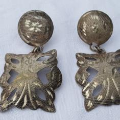 RARI Cercei argint TRIBALI opulenti VECHI Gravati manual SUPERB de EFECT vintage