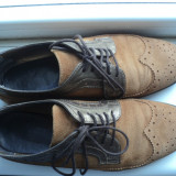 Pantofi din piele intoarsa maro