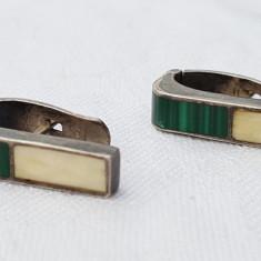 Cercei argint cu MALACHIT vintage VECHI finuti DELICATI de Efect ELEGANTI - Bijuterie veche
