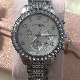 NOU Ceas de dama argintiu strasuri curea bratara metalica GENEVA + cutie cadou - Ceas dama Geneva, Fashion, Quartz, Metal necunoscut, Data, Analog
