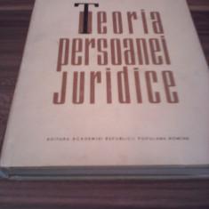 TEORIA PERSOANEI JURIDICE-IOSIF I.CHRISTIAN 1964 CARTONATA SUPRACOPERTA 378 PAG. - Carte Drept civil
