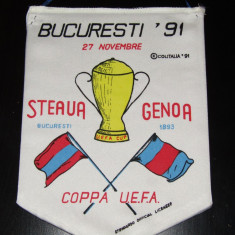 Fanion fotbal STEAUA Bucuresti - FC GENOA (27.11.1991 UEFA CUP-turul III)