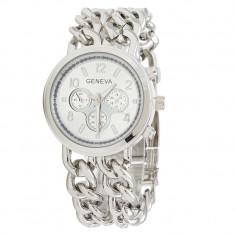 NOU Ceas de dama metalic tip lant argintiu bratara metalica GENEVA cutie cadou, Fashion, Quartz, Metal necunoscut