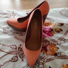 Vand pantofi Bershka - Pantof dama, Culoare: Corai, Marime: 38, Cu platforma
